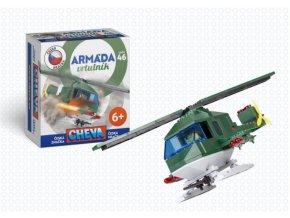 Stavebnice Cheva 46 Vrtulník vojenský plast 121ks v krabici 18x19x9cm
