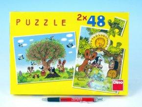 Puzzle Krtek Léto s Krtečkem 26,4x18,1cm 2x48 dílků v krabici 27x19x3,5cm