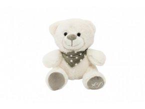 Medvěd/Medvídek sedící se šátkem plyš 20cm v sáčku 0+