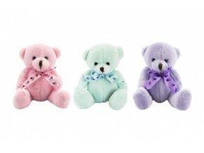 Medvídek/medvěd s mašlí sedící plyš 14cm 3 barvy 0+