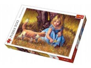 Puzzle Holčička s kočkou malované 500 dílků