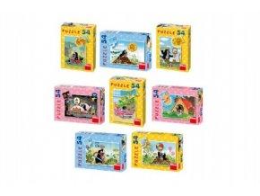 Minipuzzle Krtek 19,8x13,2cm 8 druhů 54 dílků