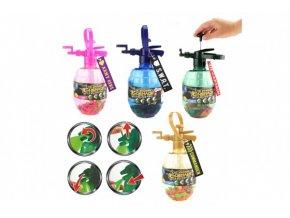 Pumpa na vodní bomby + bomby 100ks plast s přívěškem 28cm 4 barvy
