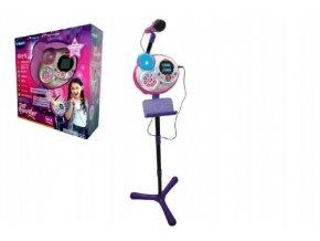 Kidi Superstar růžový mikrofon s efekty 8v1 1,35m plast na baterie v krabici 37x40x14cm