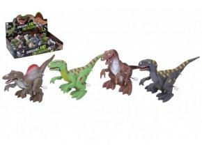 Dinosaurus se světelnými efekty 14cm plast na natažení mix barev na baterie (1 ks)