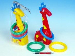 Žirafa plast 33cm s kroužky mix z 3 barvy v sáčku 18m+