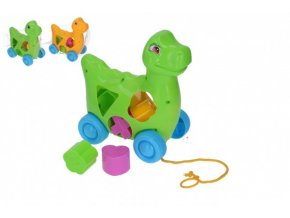Vkládačka dinosaurus tahací plast 17x19cm 2 barvy v síťce
