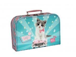 Kufřík Kočička Kitty Cute zeleno/růžový 30 cm