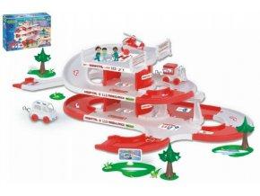 Garáž + dráha Kid Cars 3D Nemocnice plast 4,8m v krabici 59x40x15cm 12m+ Wader
