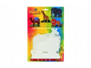 Podložka na zažehlovací korálky Hama - slon,žirafa,lev,velbloud 4ks na kartě 19x20cm
