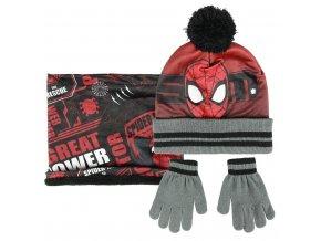 Sada nákrčník, rukavice, čepice s bambulí - Spiderman
