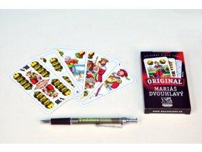 Mariáš dvouhlavý společenská hra karty v papírové krabičce 6x11cm