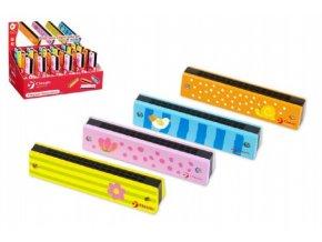 Harmonika Princess dřevo 13x2,7x2,8cm mix z 4 barvy