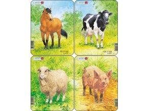 Puzzle Domácí zvířátka - 4ks 5 dílků