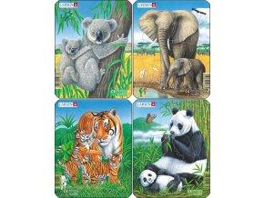Puzzle koala, slon, tygr, panda 8 dílků