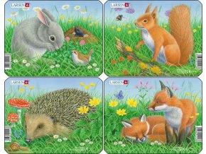 Puzzle králík, veverka, ježek, liška 5 dílků