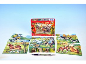 Kostky kubus Zvířátka Statek dřevo 12ks v krabičce 16,5x12,5x4cm