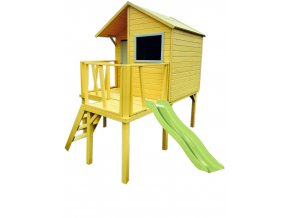 Domek dřevěný Maisonnettes Viktor na chůdách s klouzačkou