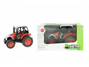Traktor na setrvačník plast 14cm v krabičce 19x11x11cm červený