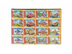 Minipuzzle Dopravní prostředky 54 dílků 16,5x11cm mix druhů v krabičce 9x6,5x3cm (1 ks)