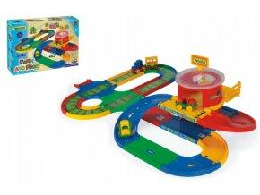Garáž+dráha Kid Cars přestupní stanice 5m v krabici 19x54x14cm 12m+ Wader
