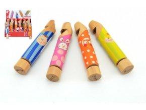 Píšťalka dřevo 14x2,5x2,5cm mix z 4 druhy