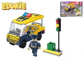 edukie stavebnice policejni auto transporter se semaforem 69ks 1figurka v krabicce
