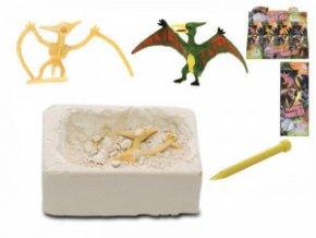 dinosaurus 7cm a zkamenelina v sadre s dlatem 12druhu v krabicce