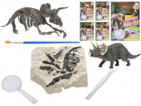 dinosaurus 12cm a zkamenelina v sadre s dlatem lupou a stetcem 6druhu