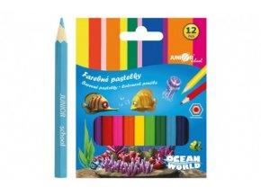 Pastelky barevné dřevo krátké Ocean World šestihranné 12 ks skladem