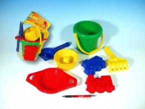 Kbelík sítko lopatka hrabičky 3 bábovky plast v síťce 20x28x12cm