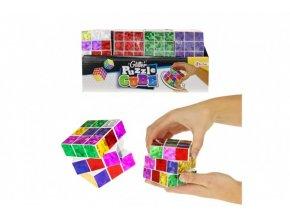 Rubikova kostka skládací hlavolam plast třpytivá 6,5x6,5cm