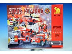 Stavebnice Dromader Hasiči Auto+Vrtulník+Stanice 21901 697ks v krabici 49x38x7cm