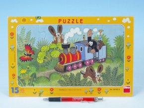 Puzzle deskové Krtek a lokomotiva 29,5x19cm 15 d skladem