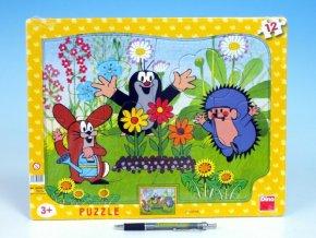 Puzzle deskové tvary Krtek zahradník 36x28cm 12 d