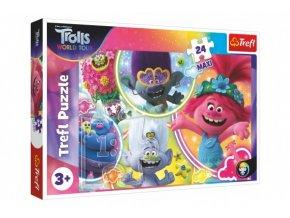 Puzzle maxi 24 dílků Hudební svět Trollů/Trolls world tour 60x40cm v krabici 40x27x4,5cm