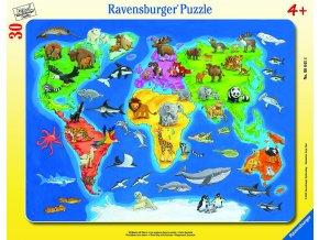 Mapa světa se zvířaty 30-48d skladem