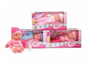 Panenka miminko s lahví měkké tělo plast 30cm mix z 4 druhy v krabici