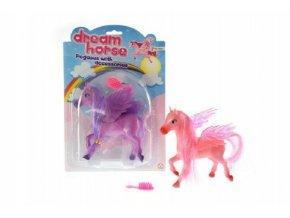 Kůň s křídly a s hřebenem česací plast 14cm asst 2 barvy na kartě
