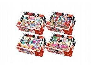 Minipuzzle Minnie & Daisy  54dílků mix z 4 druhy v krabičce 9x6x3cm