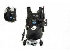 Sada policejní pistole a přilba s doplňky plast skladem