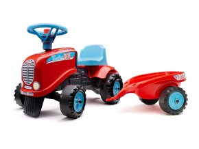 Odstrkovadlo - traktor Go Farm červené s volantem a valníkem