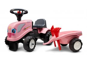 Odstrkovadlo - traktor Landini růžový s volantem a valníkem