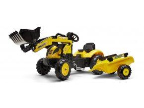 Traktor šlapací Komatsu žlutý s přední lžící a valníkem