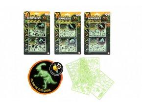 Hlavolam 3D puzzle plast Svět dinosaurů svítící ve tmě 3 druhy na kartě 15x25,5x0,5cm