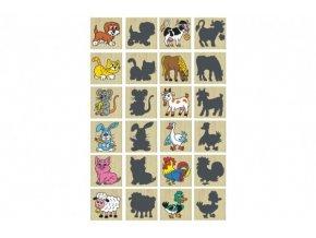 Pexeso zvířátka a jejich stíny dřevo společenská hra 12ks v krabičce