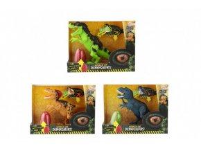 Dinosaurus plast 28-30cm na baterie se zvukem se světlem 3 druhy s překvapením v krabici 29x22x10cm