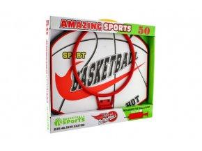Basketbalový koš dřevo/kov/síťka/míč s pumpičkou v krabici 49x42x4cm