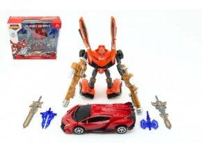 Transformer auto/robot 25cm mix z 2 barvy v krabici 34x33x10cm
