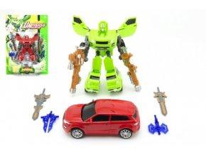 Transformer auto/robot 23cm mix z 2 barvy na kartě